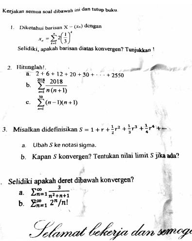 Soal Dan Pembahasan Ujian Akhir Semester Uas Analisis Real 2 Deret Dan Uji Konvergensinya Mathcyber1997