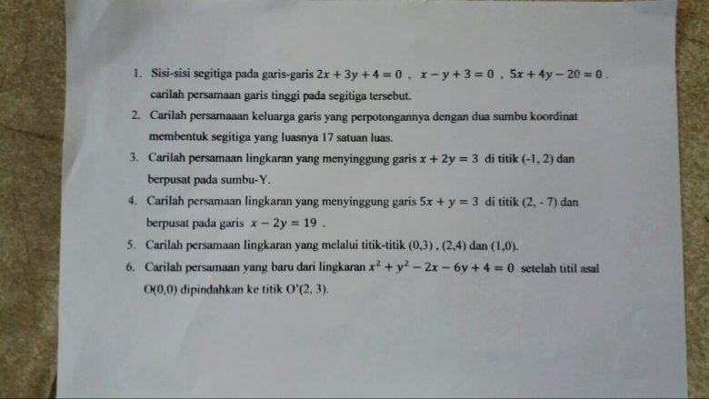 Soal Dan Pembahasan Ujian Akhir Semester Uas Geometri Analitik Datar Mathcyber1997