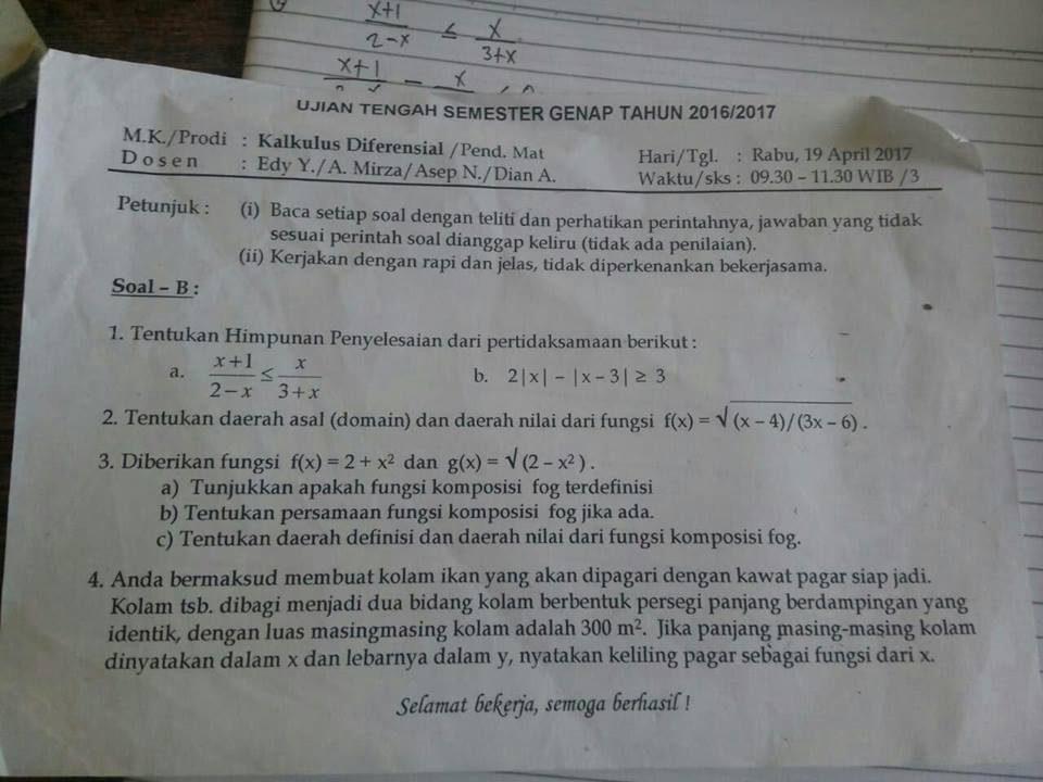 Soal Dan Pembahasan Ujian Tengah Semester Uts Kalkulus Diferensial Versi 1 Program Studi Pendidikan Matematika Fkip Untan Mathcyber1997