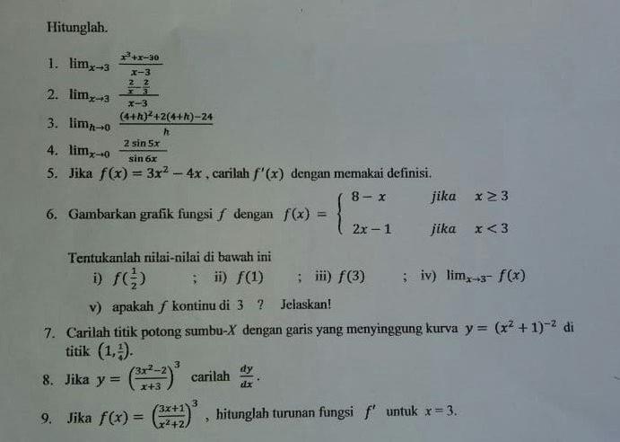 Soal Dan Pembahasan Ujian Akhir Semester Uas Kalkulus Diferensial Prodi Pendidikan Matematika Fkip Untan Mathcyber1997