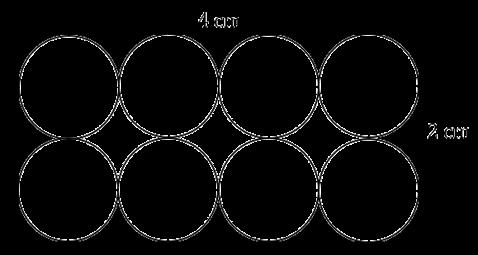 Delapan lingkaran dalam sebuah persegi panjang