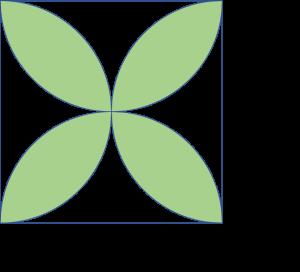 Empat daun dalam persegi