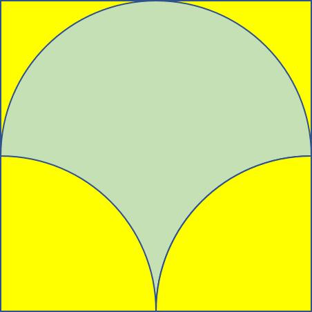 Potongan lingkaran dalam sebuah persegi