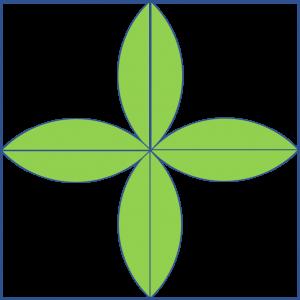4 daun melintang di dalam persegi