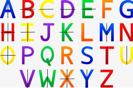 Beberapa huruf simetris terhadap garis horizontal dan vertikal